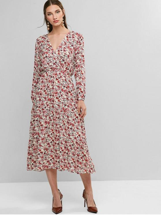 hot Floral Surplice Long Sleeve Midi Dress - MULTI-A M