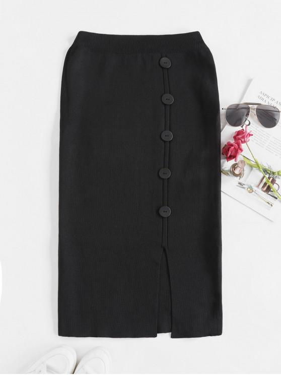 hot Solid Slit Buttoned Knitted Skirt - BLACK ONE SIZE