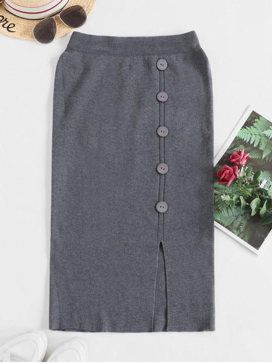 women's Solid Slit Buttoned Knitted Skirt - GRAY ONE SIZE