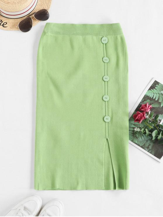 new Solid Slit Buttoned Knitted Skirt - GREEN ONE SIZE