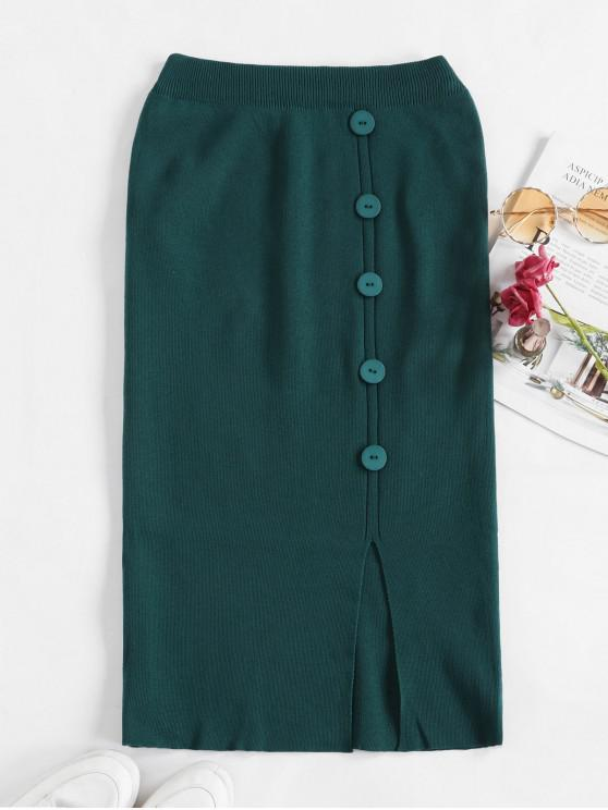 lady Solid Slit Buttoned Knitted Skirt - DEEP GREEN ONE SIZE