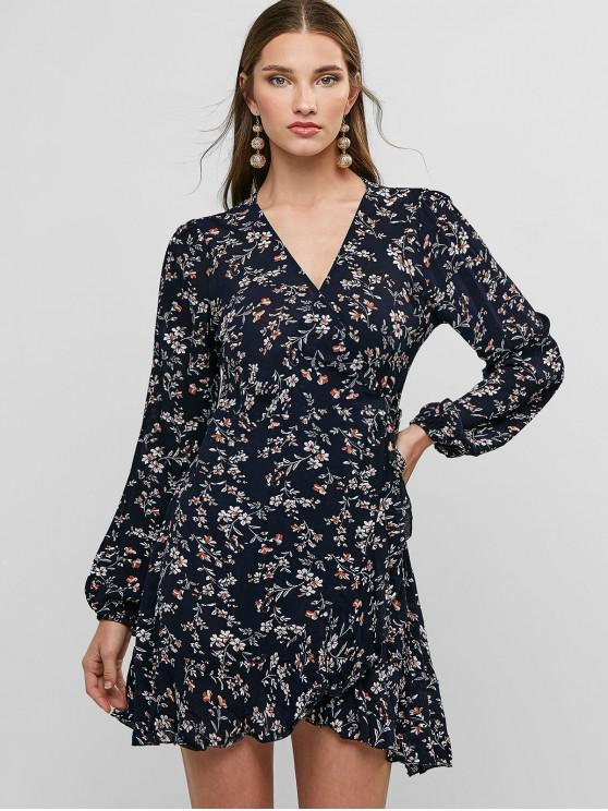 online Ditsy Floral Flounce Long Sleeve Wrap Dress - MIDNIGHT BLUE S