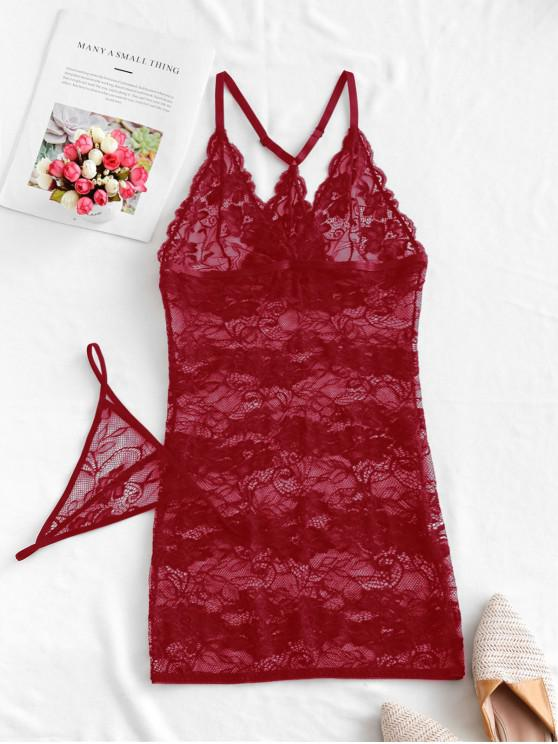 womens Floral Lace See Through Babydoll Set - RED WINE M