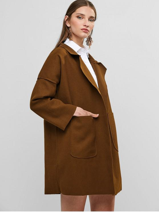 fashion Open Front Wool Blend Coat - BROWN XL