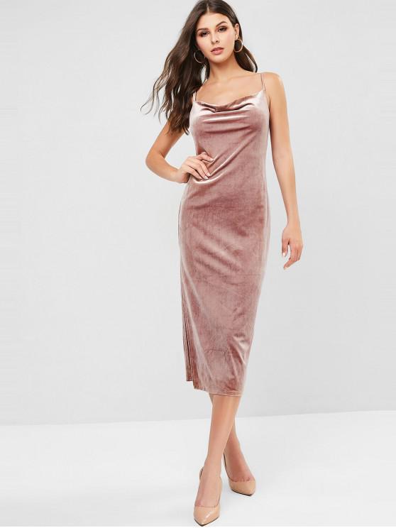affordable Cowl Front Criss Cross Velvet Slit Cami Dress - KHAKI ROSE M