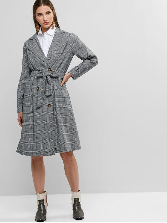 best Belted Seam Pockets Double Breasted Plaid Trench Coat - BLACK L