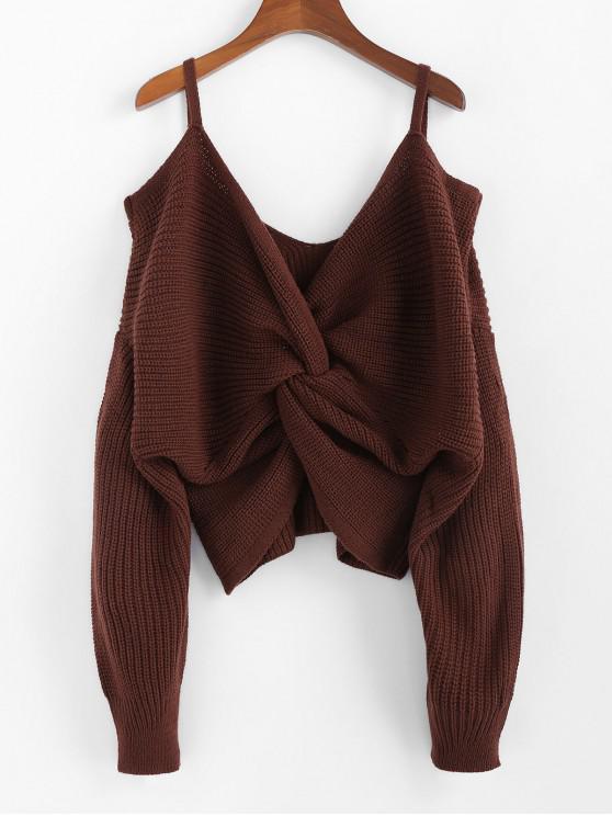 affordable ZAFUL Twisted Cold Shoulder Jumper Sweater - SEPIA M