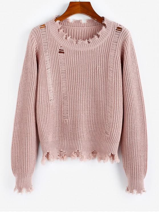 lady ZAFUL Ripped Frayed Detail Plain Sweater - ROSE L