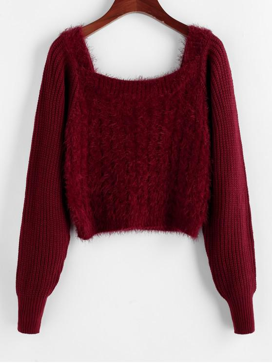 fancy ZAFUL Fuzzy Raglan Sleeve Scoop Neck Sweater - RED WINE M