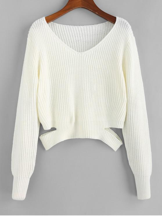 women's Cut Out Plunge Long Sleeve Sweater - WHITE L