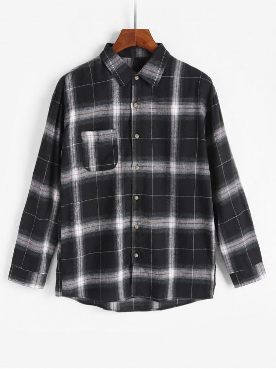 women Checkered Chest Pocket Button Up Long Sleeve Shirt - BLACK S
