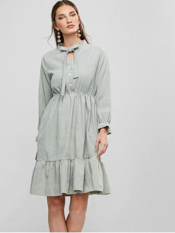 women Pussy Bow Flounce Corduroy Dress - LIGHT GREEN M