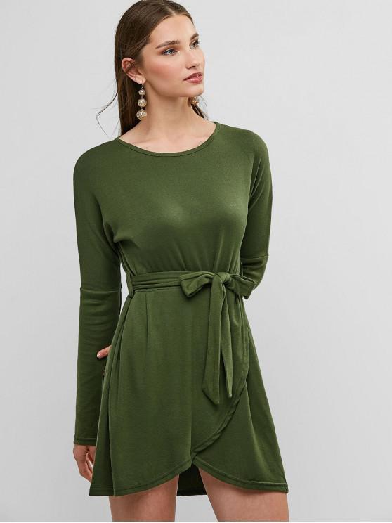 chic Long Sleeve Overlap Belted Tulip Tee Dress - SEAWEED GREEN M