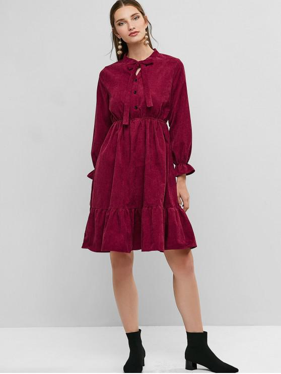 unique Pussy Bow Flounce Corduroy Dress - RED WINE XL