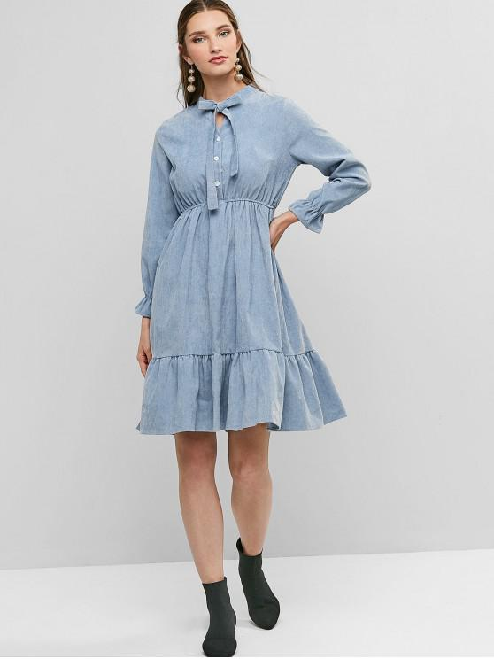 trendy Pussy Bow Flounce Corduroy Dress - BLUE GRAY S