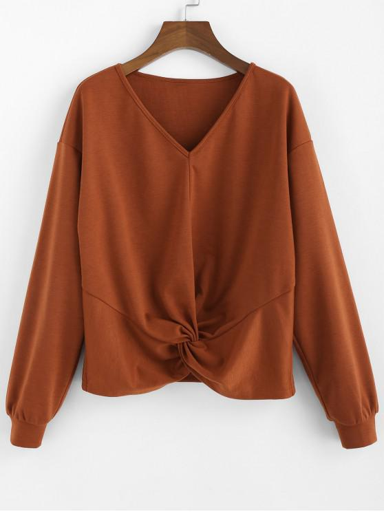 ladies ZAFUL V Neck Drop Shoulder Twisted Sweatshirt - RUST M
