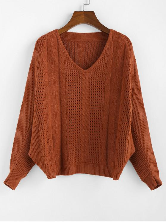 fancy ZAFUL x Yasmine Bateman Dolman Sleeves V Neck Solid Open Knit Sweater - RED DIRT M
