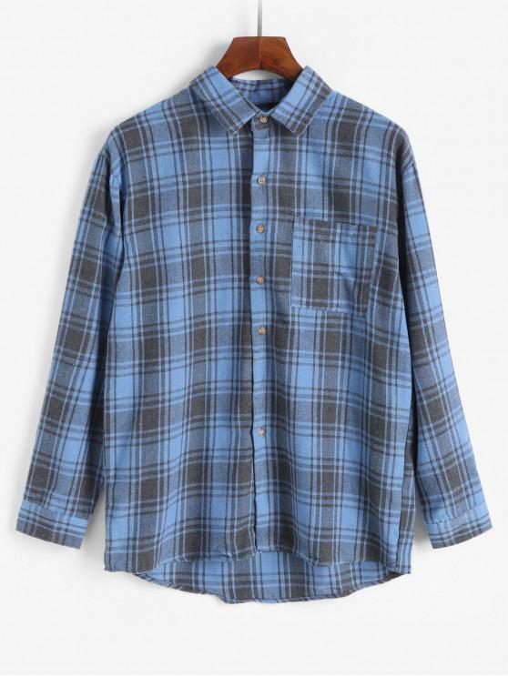 womens Chest Pocket Button Plaid Long Sleeve Shirt - SILK BLUE S