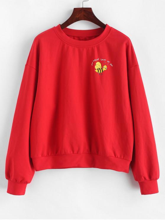affordable ZAFUL Slogan Bee Sweatshirt - RED L