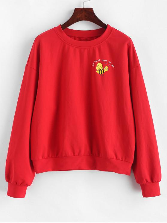 lady ZAFUL Slogan Bee Sweatshirt - RED S