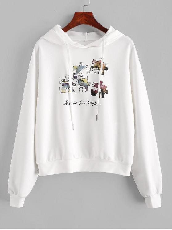 shop ZAFUL Funny Graphic Hoodie - WHITE S