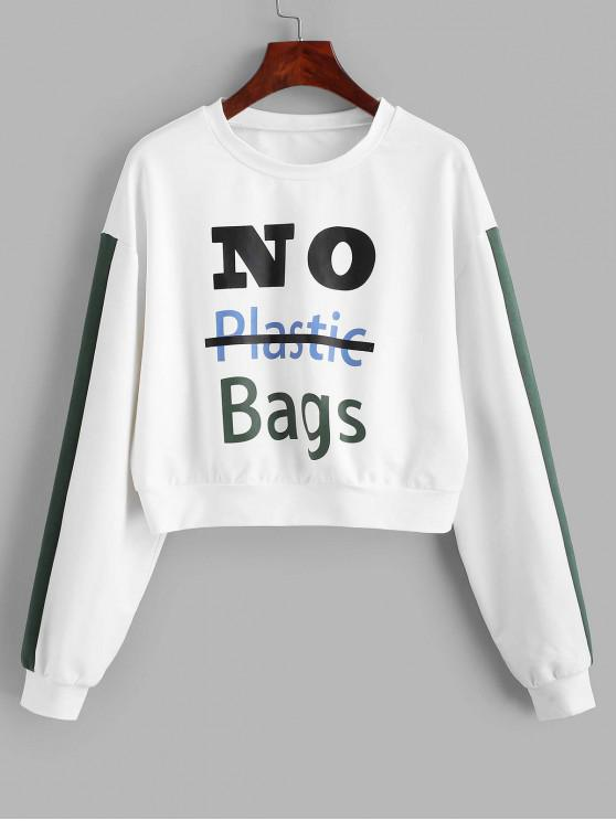 sale ZAFUL No Plastic Bags Slogan Cropped Sweatshirt - WHITE M