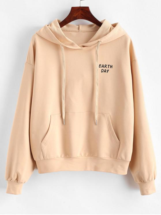 trendy ZAFUL Earth Day Pocket Hoodie - APRICOT S