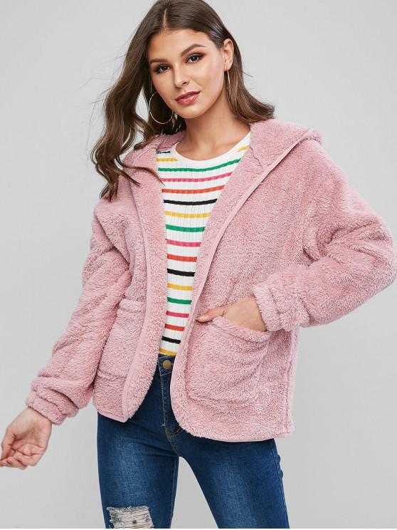womens ZAFUL Hooded Fuzzy Coat - PINK S