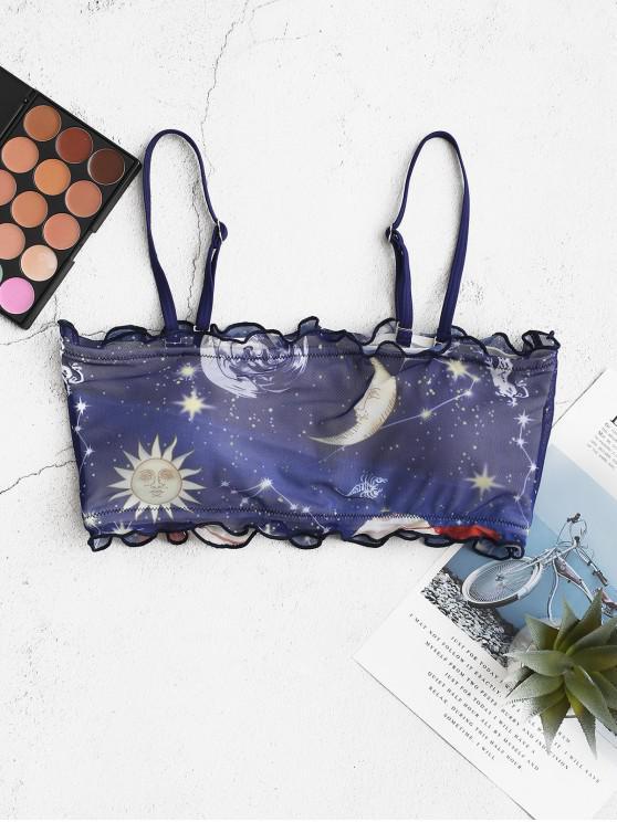 buy ZAFUL Sun Star Moon Lettuce-trim Mesh Bandeau Bikini Top - LAPIS BLUE M