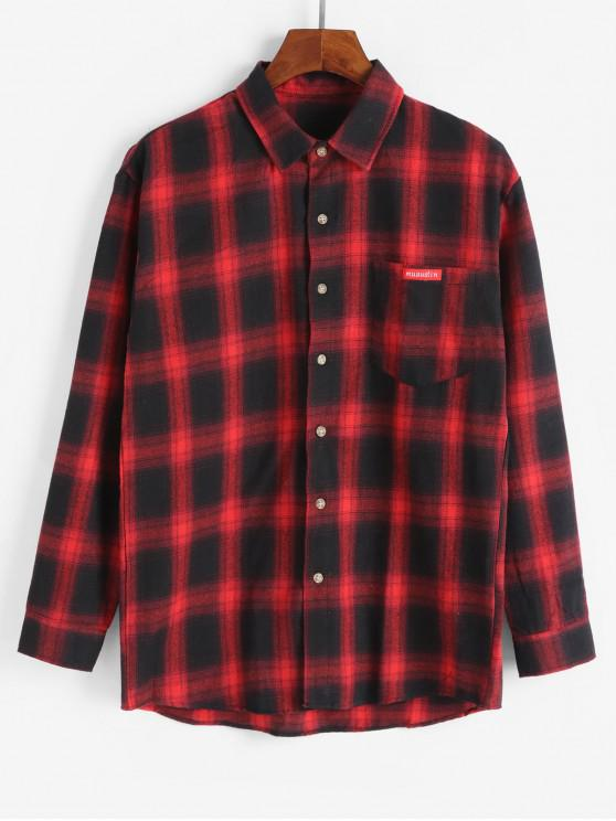 latest Plaid Long Sleeve Chest Pocket Button Up Shirt - RED 2XL
