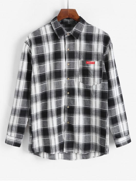 buy Plaid Long Sleeve Chest Pocket Button Up Shirt - WHITE 2XL