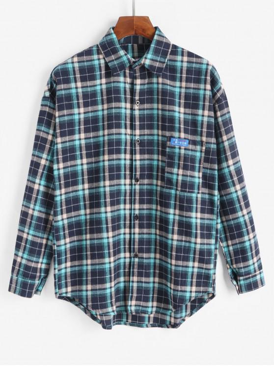 women Chest Pocket Applique Plaid Long Sleeve Button Shirt - DEEP BLUE M