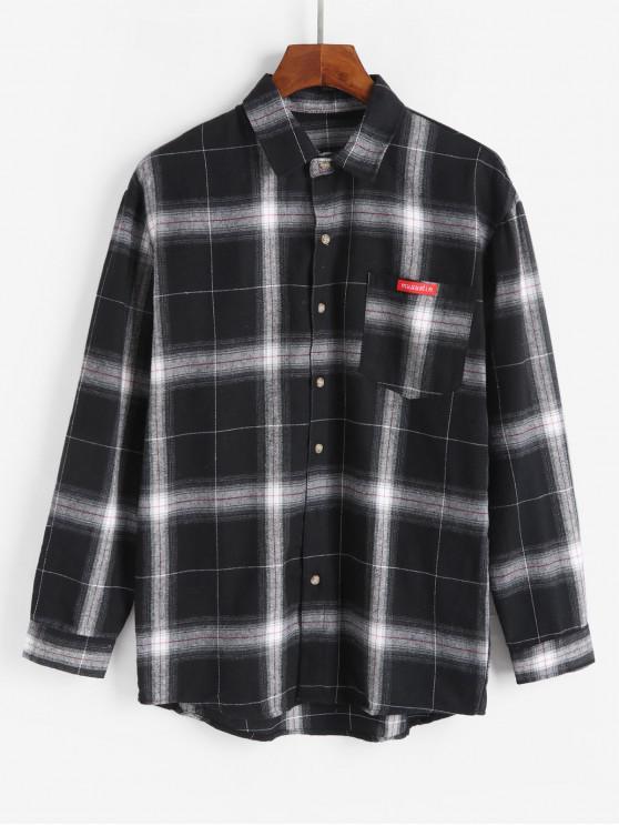 sale Plaid Long Sleeve Chest Pocket Button Up Shirt - BLACK S