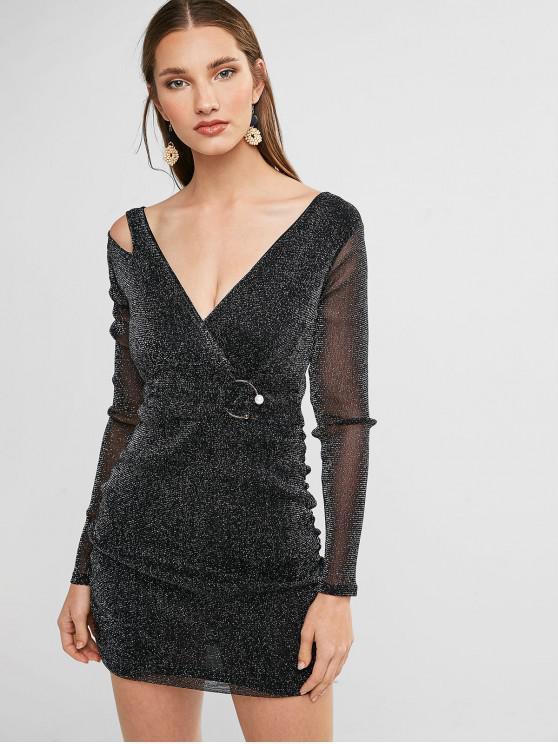 fashion Shimmer Knit Plunging Ruched Dress - BLACK L