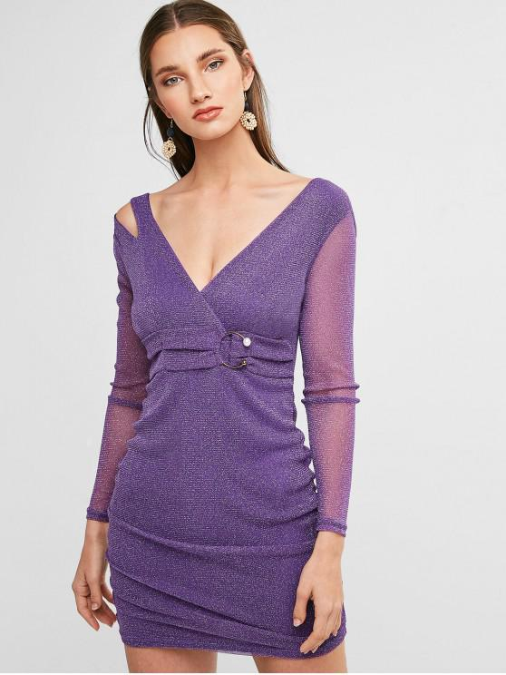 sale Shimmer Knit Plunging Ruched Dress - PURPLE S