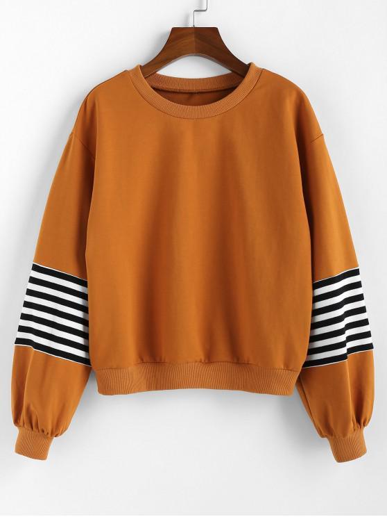 ZAFUL Sweat-shirt Rayé à Col Rond - Orange Tigre L