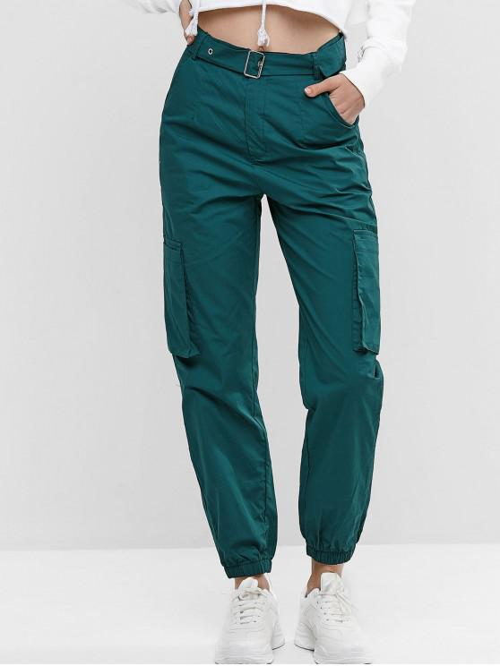 online Solid Color Pockets Belted Jogger Pants - MEDIUM SEA GREEN XL