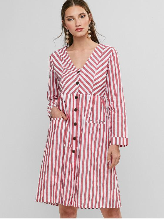 new Button Up Contrast Stripes Long Sleeve Dress - MULTI-A L
