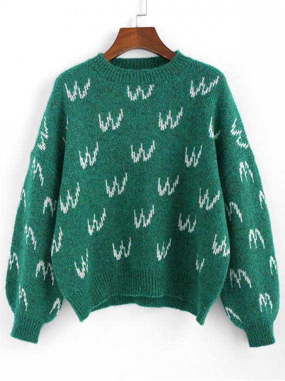 lady ZAFUL Graphic Drop Shoulder Lantern Sleeve Sweater - DARK GREEN M