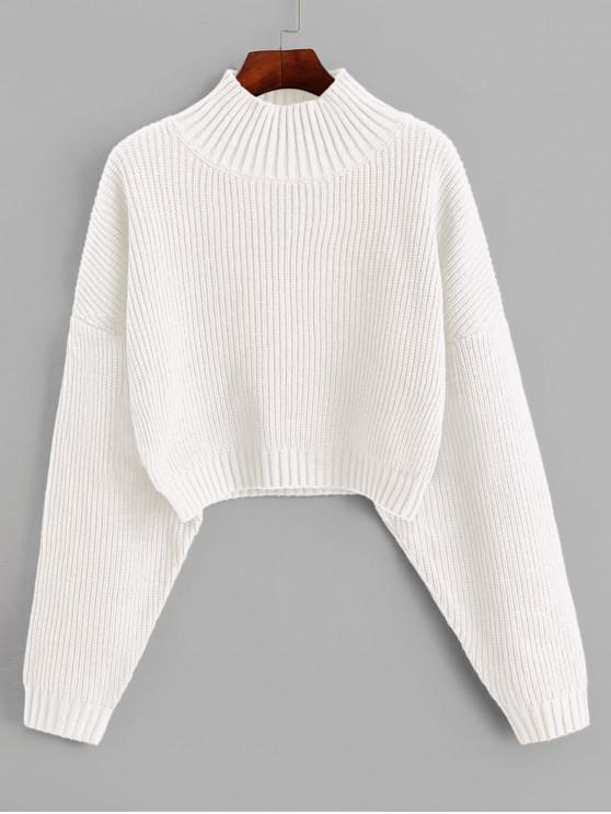 fashion ZAFUL Drop Shoulder Mock Neck Plain Sweater - WHITE S