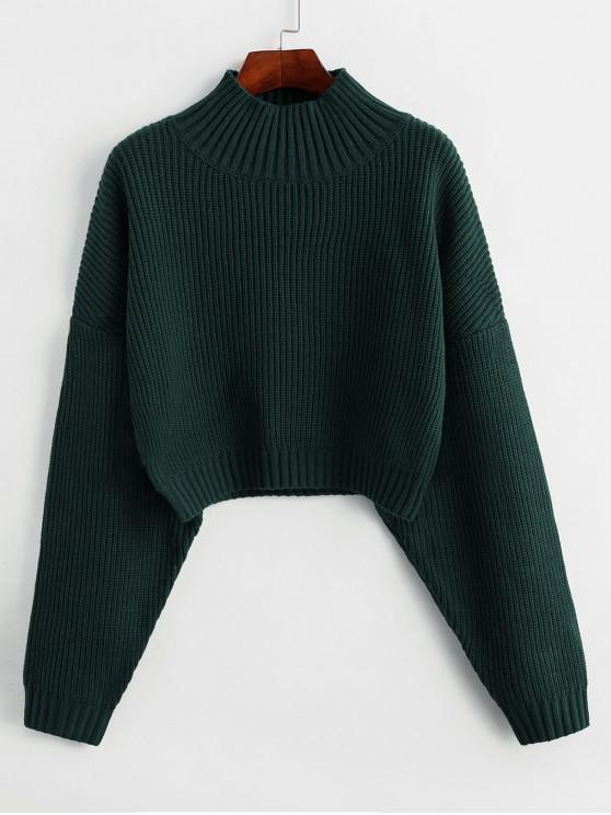 ZAFUL Gota ombro Mock pescoço camisola Plain - Verde de Floresta Escura S