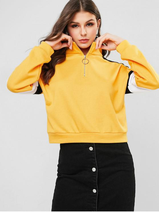 chic ZAFUL Colorblock Half Zip Drop Shoulder Sweatshirt - RUBBER DUCKY YELLOW S