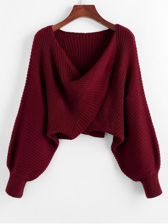 women Twist Asymmetric Crop Sweater - RED WINE L