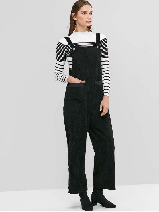 fashion Pockets Corduroy Wide Leg Pinafore Jumpsuit - BLACK L