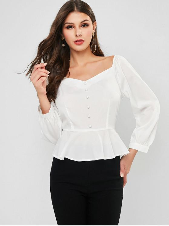 trendy ZAFUL Mock Button Peplum Milkmaid Blouse - WHITE S
