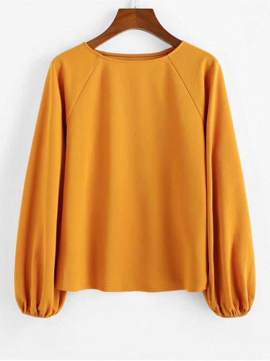 shop ZAFUL Raglan Sleeves Solid Round Neck Blouse - MUSTARD M