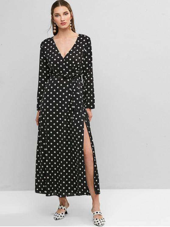 unique Belted Long Sleeve Polka Dot Maxi Surplice Dress - BLACK XL