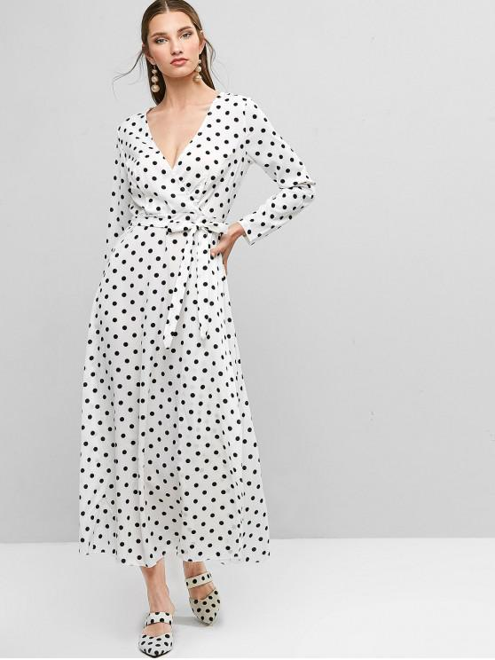 new Belted Long Sleeve Polka Dot Maxi Surplice Dress - WHITE S