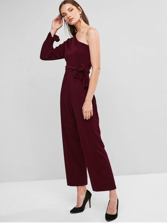 women's One Shoulder Tie Cuffs Wide Leg Jumpsuit - RED WINE M