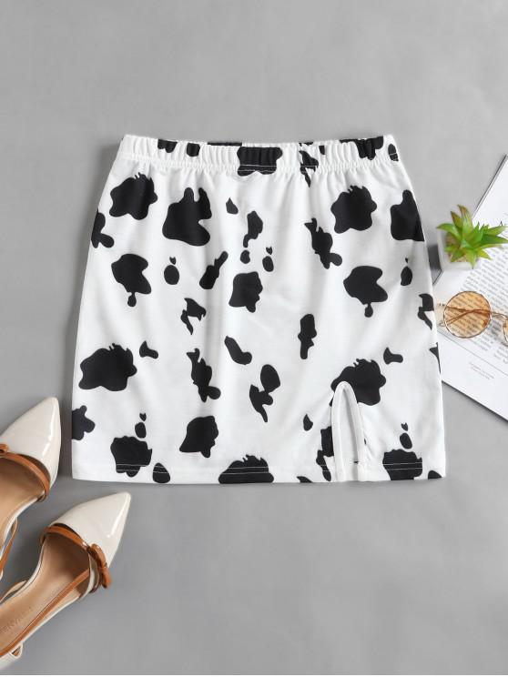 hot ZAFUL Cow Print Slit Bodycon Skirt - WHITE S